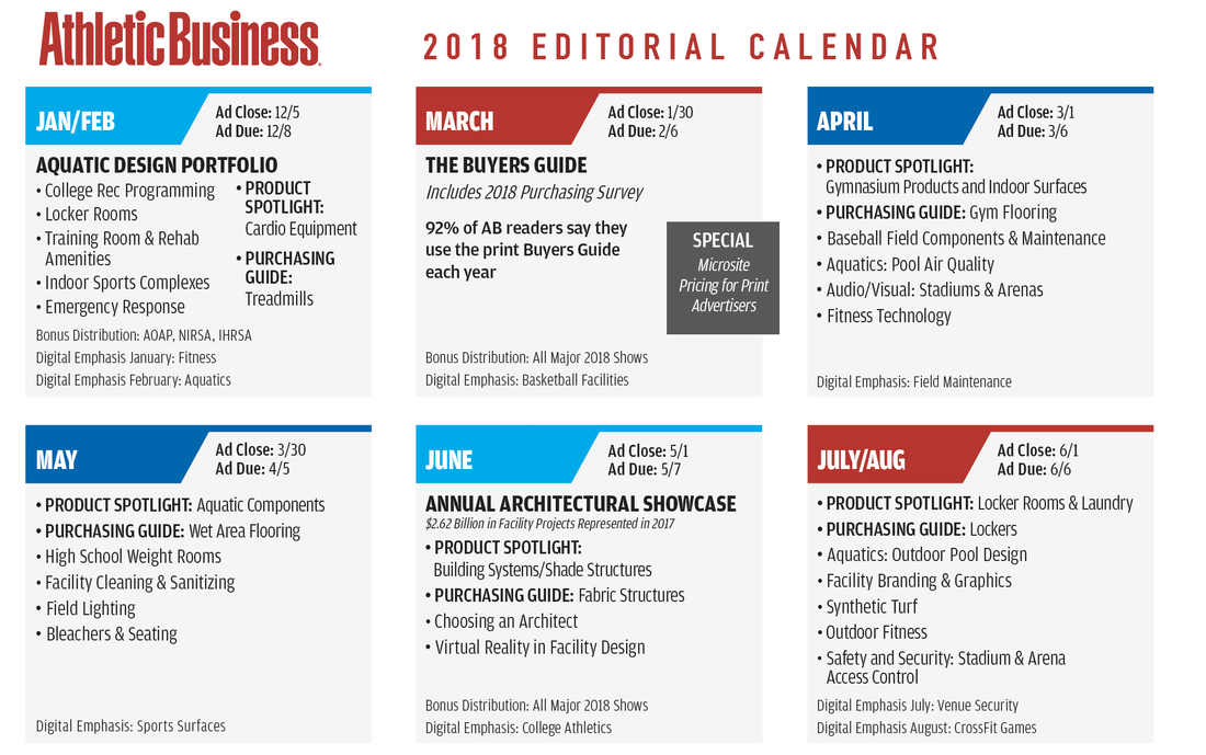 Athletic Business Editorial Calendar 2017